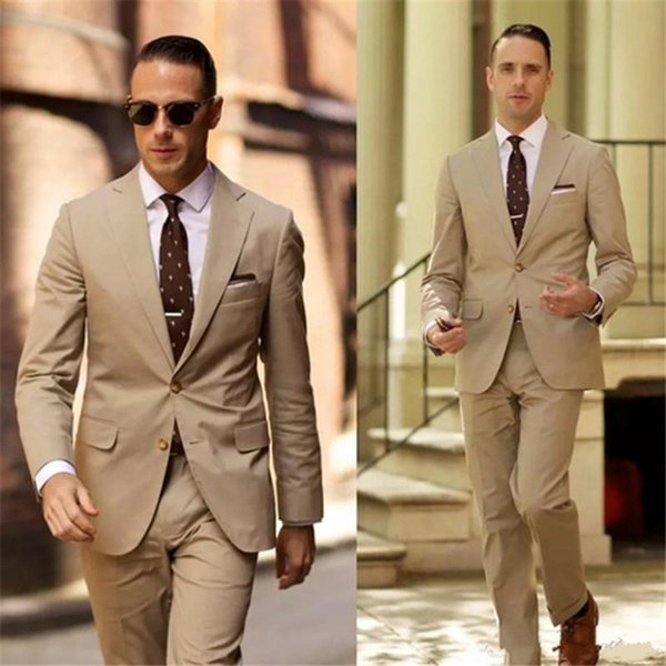Classy High Quality Wedding Tuxedos Light Brown Mens Wedding Suits Two Pieces Groom Wear Cheap Formal Suit (Jacket+Pants)