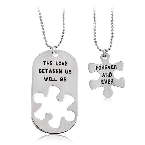 """2pcs """"the love between us will be forever and ever"""" letters carving pendant necklaces special nice gift lovers couples jewelry"""