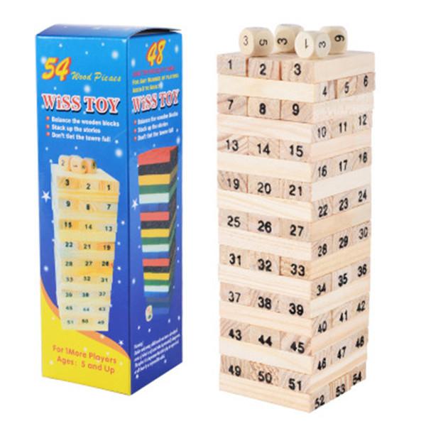 Jenga Giant Hardwood Game Family Board Game 54Pcs digital Wooden Stacking Tumbling Tower Blocks Drinking Game Christmas gift kid toy