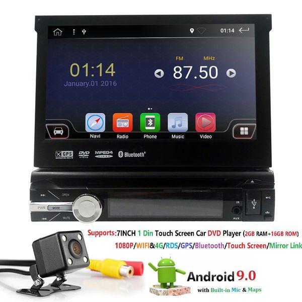 Universal Single 1 din Rádio Do Carro Android GPS Autoradio Bluetooth Estéreo Mirrorlink Multimedia Player Câmera de Visão Traseira Android9.0