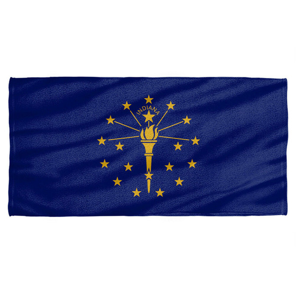Indiana Flag Licensed Beach Towel 60in by 30in Men Women Unisex Fashion tshirt Free Shipping black
