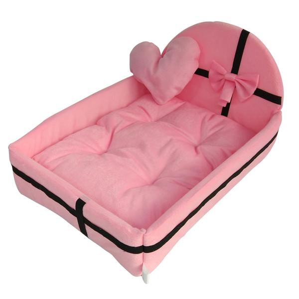 Comfortable Pets Moisture Proof Heart Plush No Stimulation Washable Removable Home Dog Nest Bow Knot Winter Anti Slip Soft