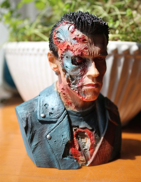 [TOP] 24cm Terminator T800 1: 4 Busto Arnold Schwarzenegger resina figura statua giocattolo Battle Damage Collection modello scrivania decorazione