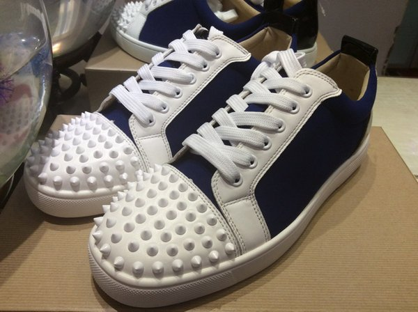 MFF990A Size 35-47 Men Women Blue Flock With White Spikes Toe Low Top Lace Up New Fashion Rubber Sole Sneakers