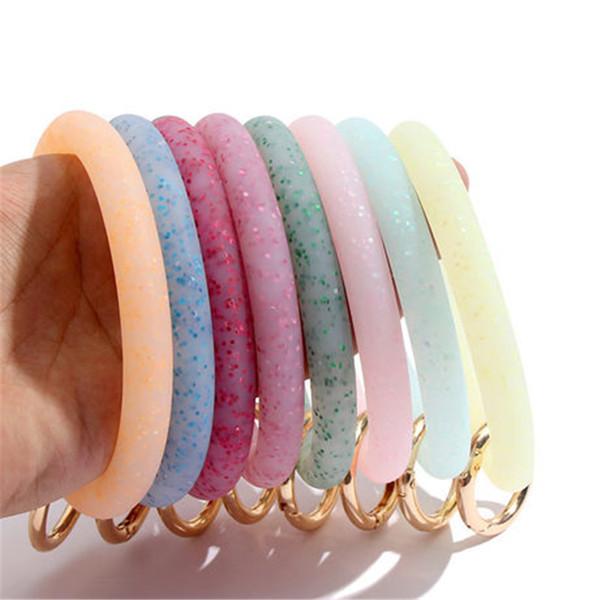 Bracciale Glitter polso del silicone Portachiavi Moda Sport Keychain bracciali bangle tondo Portachiavi Grande O portachiavi regalo carino