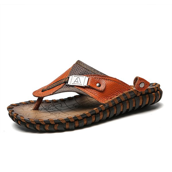 New Men Leather Slippers Summer Sandals Shoes Plus Size 38-48 Sewing Design Male Casual Flip Flops Black Brown Colors