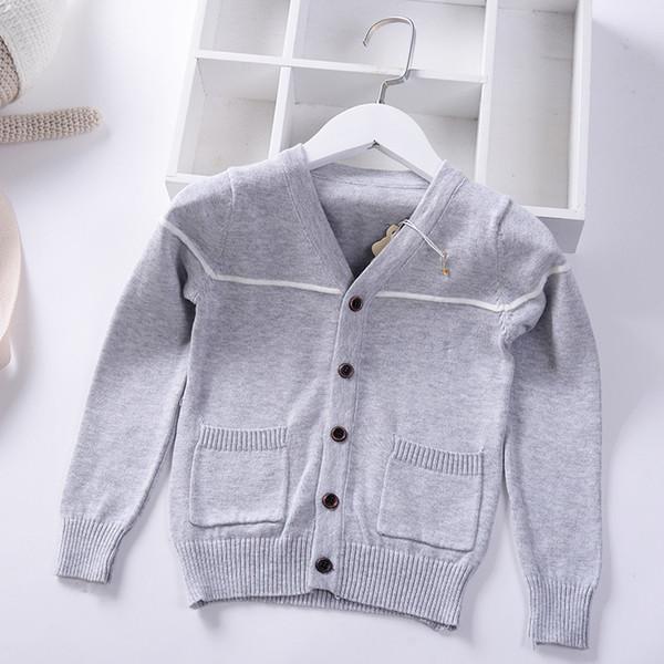 867cd27e9 2019 Spring Autumn Boys Sweater Knitted cardigan stripe Children Clothing  Baby Pockets Coat Kids V Neck
