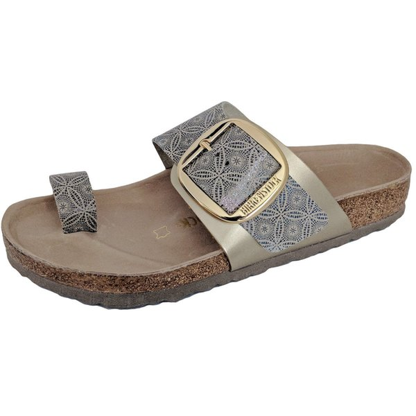 Birkenstock1 Miramar Ceramic Pattern Blue Thongs Slides Sandals Buckle Leather