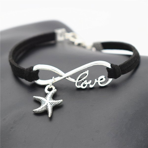 Hand Made Black Leather Suede Wrap Bracelet & Bangles For Men Women Unisex Silver Infinity Love Sea Star Starfish Pendant Charm Jewelry Gift