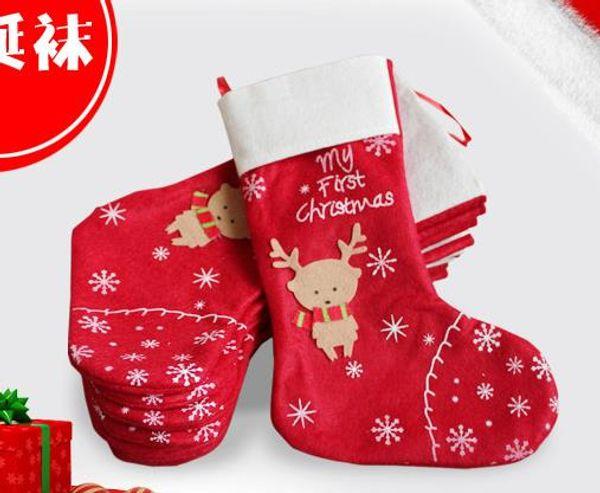 Noel Süsleri kar tanesi geyik Noel çorap hediye çantası şeker torbaları uzun çoraplar çorap Şenlikli Parti Malzemeleri sarmak