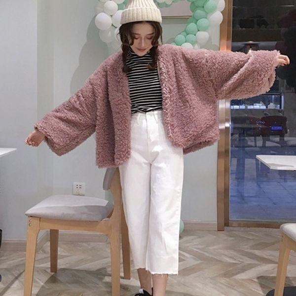 Mulheres de Manga Comprida Com Decote Em V Casaco Casuais Solto Cardigan Harajuku Outwear Inverno Quente Casaco De Pele Falso