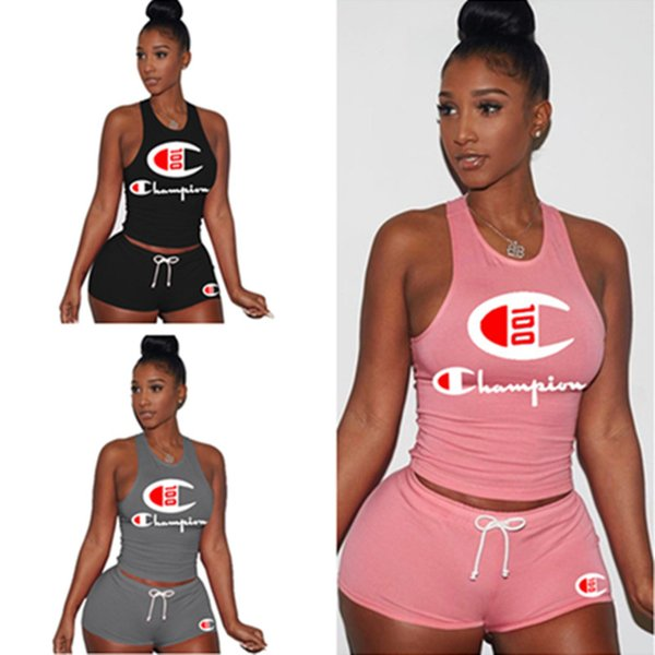 Women Champion 100 Anniversary Tracksuit Sleeveless Vest Tank +Shorts Set Summer 2 Piece Sportswear Jogging Fitness Crop Tops Suit C5701