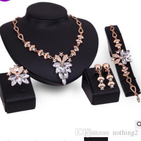 Los juegos de segmentos deisgner sistemas de la joyería de la boda para los pendientes bracelst collar de flores mujer anillos de la manera libre caliente del envío