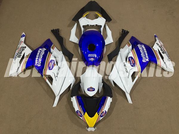 Nuevo kit de carenados de motocicletas ABS aptos para kawasaki Ninja 300 EX300 Ninja300 2013 2014 2015 13 14 15 Carenado + Cubierta del tanque azul blanco ZX-3R