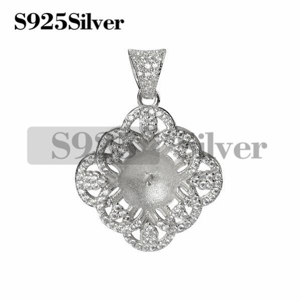 Precioso colgante de circonio cúbico 925 plata DIY perlas monta regalo perfecto para el compromiso de boda 5 piezas
