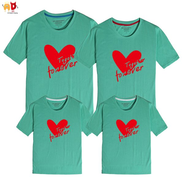 good quality 1PCS Family Matching T-shirt Summer Heart Pattern Mother and Daughter Dad and Son Clothes Cotton Clothing Together Forever