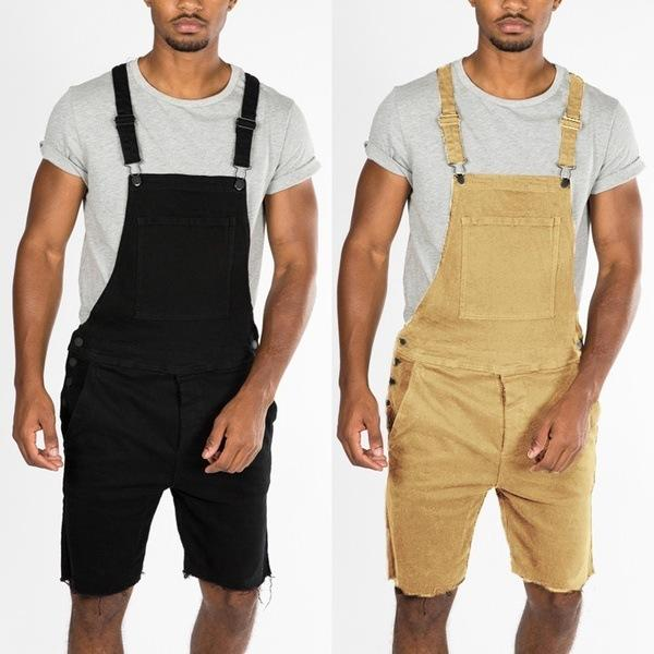 Fashion Men's Ripped Jeans Jumpsuits High Quality Street Wear Distressed Denim Rompers Overalls For Man Pants Plus Size S-XXXL