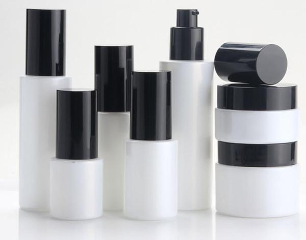 300pcs 30 / 50g bocal en verre blanc 20ml 30ml en verre blanc pompe lotion / vaporisateur flacon pompe noire couvercles noirs