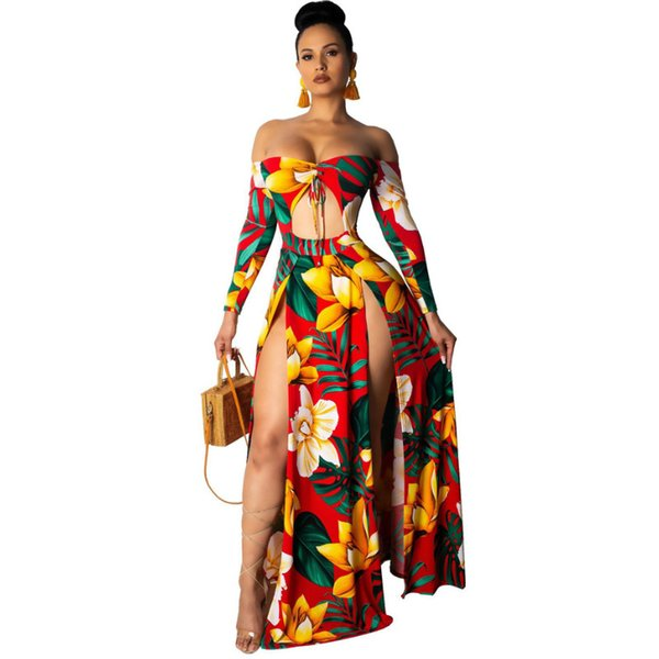 Ladie Boho Flower Long Maxi Dresses Women Off Shoulder Long Sleeve Sexy Dresses Strapless High Split Club Party Vestidos Summer Beach Dress