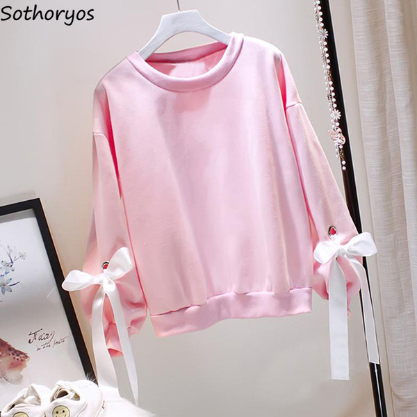 Hoodies Women Sweet Pink Korean Style All-match O-neck All-match Solid Trendy Soft Ladies Plus Velvet Womens Sweatshirts Elegant SH190824