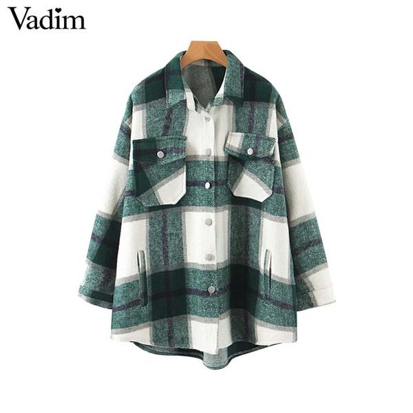 Vadim donne plaid giacca oversize tasche a scacchi stile allentato lungo cappotto manica femminile outwear top caldo causali