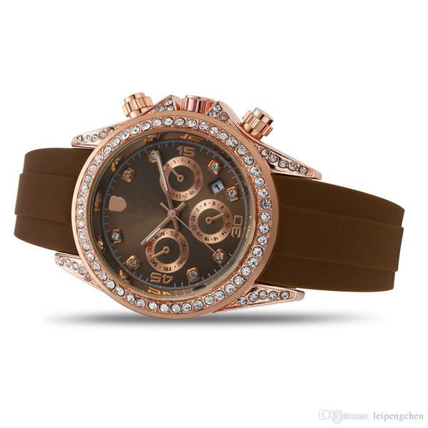 Mens Top quality Master watch Silicone strap luxury Casual Fashion Famous brand quartz Rhinestone Case 40 mm Auto DateJust for men