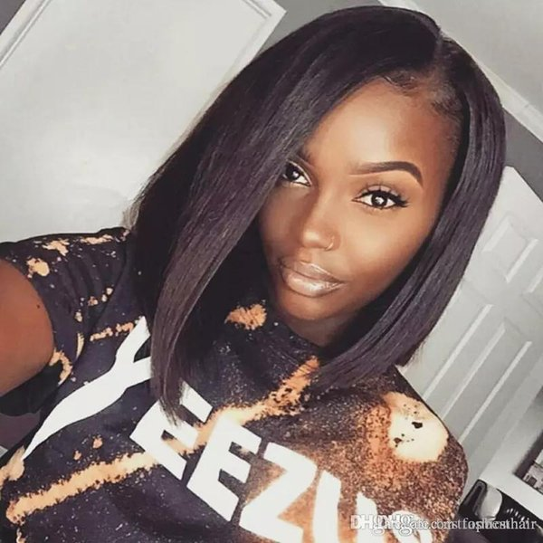 Short Human Hair Wigs For Black Women Light Yaki Straight Bob Hairstyles Virgin Glueless Lace Front Bob Human Hair Wigs For African American