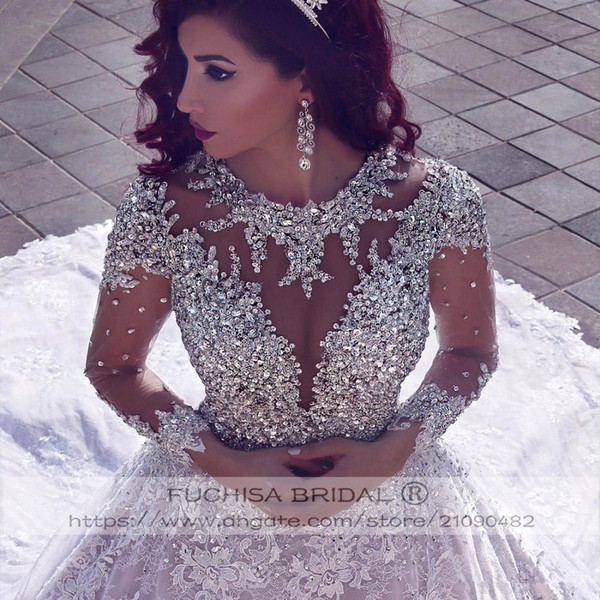 Sheer Long Sleeves Sparkly Wedding Dresses Long Train Sheer Back Middle East Bridal Dresses Gowns Sequins Beads