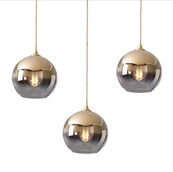 Modern Chandelier Simple Electroplated Spherical Golden Bubble Glass Chandelier Mirror Ball Chandelier lustre luminarias Free shipping