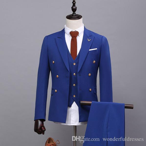 Trajes para hombre azules Trajes de padrino de doble botonadura Trajes Slim Fit Peaked Lapel Men Trajes de boda Formales Smoking 3 piezas (chaqueta + chaleco + pantalones) SG016