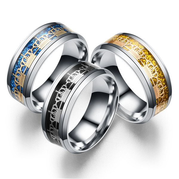 Stainless Steel Rings Imperial Crown Ring Fashion Jewelry Rings For Men Women Gift Blue Golden Black