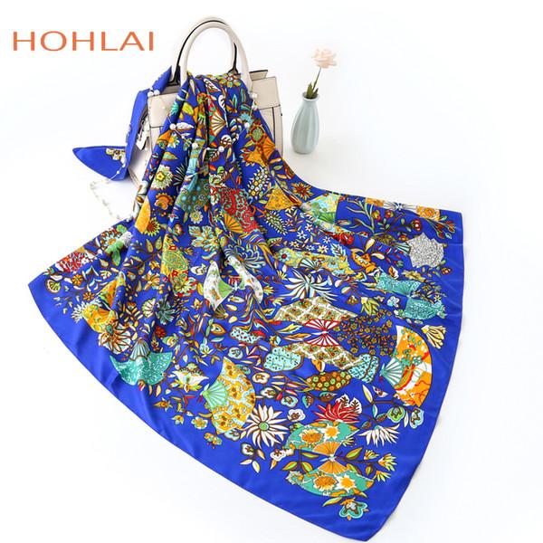 130*130cm Lake Blue Twill Silk Scarf Women Fashion Floral Fan Printed Hijab Female Beach Shawl&Wrap Large Foulard Square Scarves