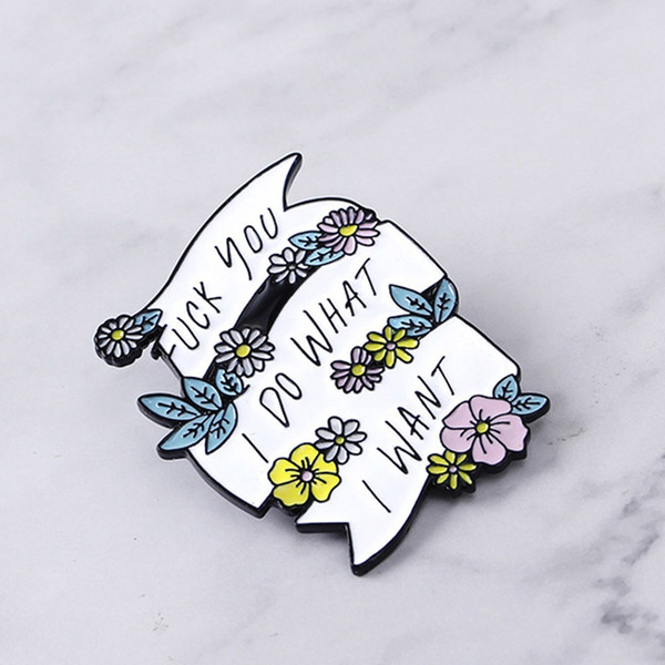 Fashion Creative Personality Cartoon Plant Flower Lettering White Ribbon Feminism Brooch Metal Badge Jeans Bag Hat Shirt Jewelry