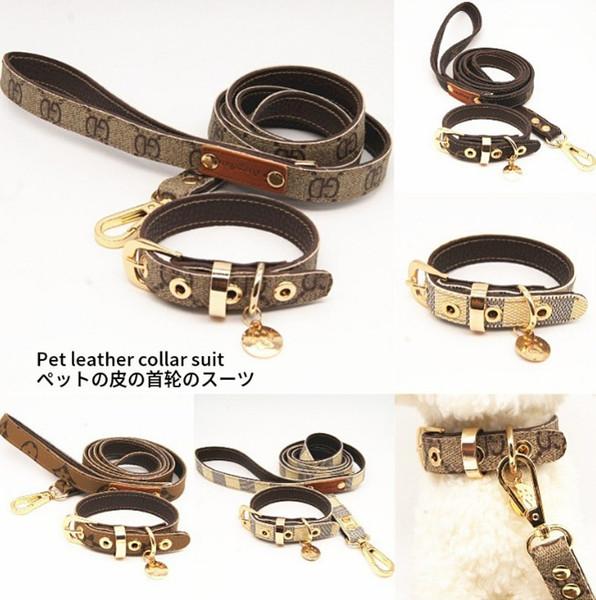 Padrão clássico série pet gola de tração de couro corda terno andando cão artefato