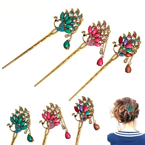 Classical Retro Women Elegant Bobby Pin Colorful Hairpin Rhinestone Hair Stick
