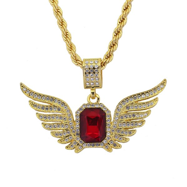 New foreign trade style Europeans and Americans sell angel wings glass jewelry pendant necklaces, hip-hop fashion jewelry manufacturer direc
