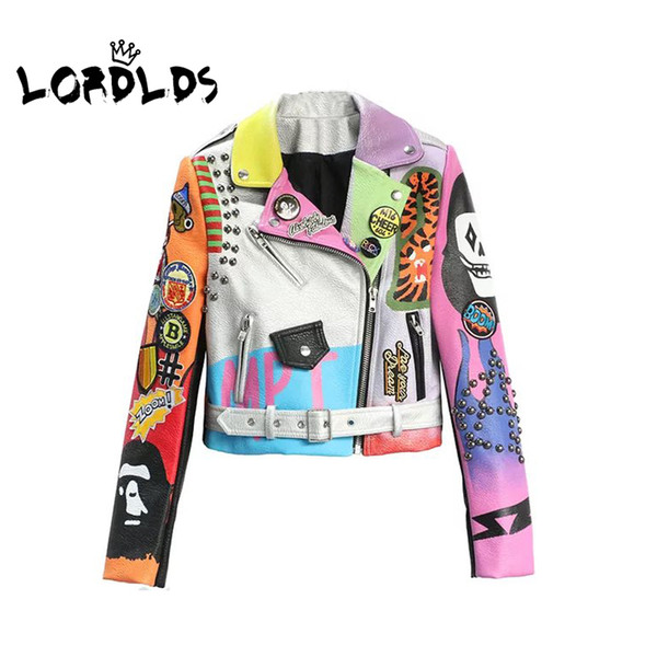 best selling LORDLDSCropped Leather Jackets Women Hip hop Colorful Studded Coat New Spring Ladies Motorcycle Punk Cropped Jacket with belt