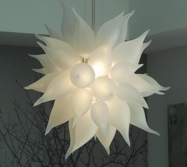 top popular Modern Led Crystal Chandelier Light Round Circle Living Room Modern Frosted White Blown Glass Chandelier Hanging Pendant Lamp with LED Bulbs 2021