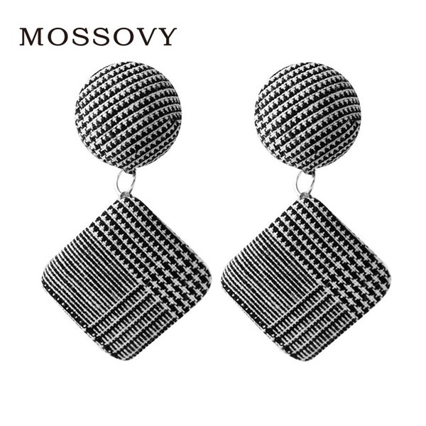 Mossovy 4 Style New Plaid Fabric Round Square Dangle Earrings for Female Fashion Popular Cotton Earrings for Women Jewelry