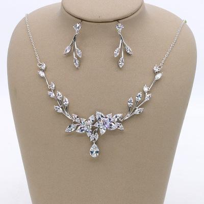 2019 spring explosion bride flower zircon wedding jewelry set/bridal party dress accessories/earrings necklace two-piece suit set wholesale