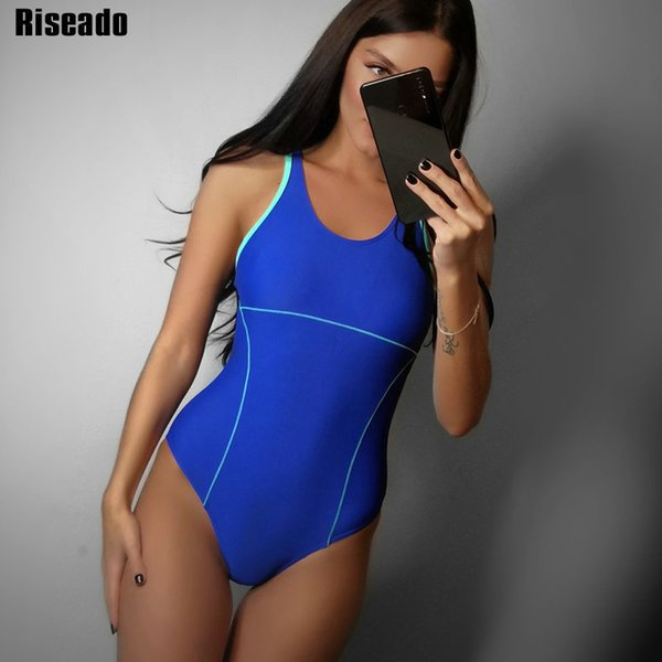 71d46c3646 Riseado New 2019 Sport Swimming Suits For Women Competitive Swimwear One  Piece Swimsuits Solid Racer Back