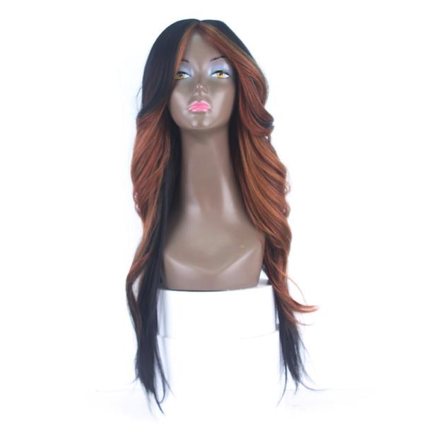 Высокое качество дешевые парики HL27 # длинные свободные волнистые прямые парики с челкой Glueless термостойкие синтетические парики для чернокожих женщин