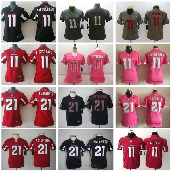 68aaa406 Women Youth Cardinals 11 Larry Fitzgerald Jersey Kids Lady 21 Patrick  Peterson Football Jerseys Woman Children Red Black White Pink UK 2019 From  ...