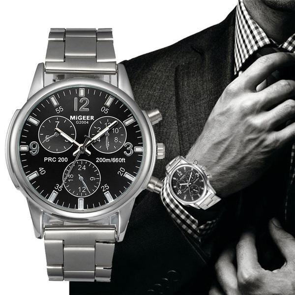 2019 Yeni Erkekler MIGEER Saatler Lüks Tasarımcı Paslanmaz Çelik Kuvars İzle Erkek Analog Bilek Saatler Bilezik Relogio