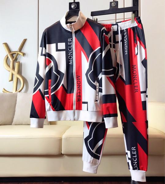 2019 новая мода прибытие корона письмо принт костюм толстовки + брюки набор для мужчин дизайнер бренда одежда спортивный костюм
