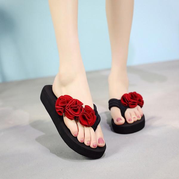 Envío de la gota OEAK Zapatos de verano Sandalias de verano para mujer Zapatillas Zapatillas de interior al aire libre Zapatos de playa Chanclas planas para mujer