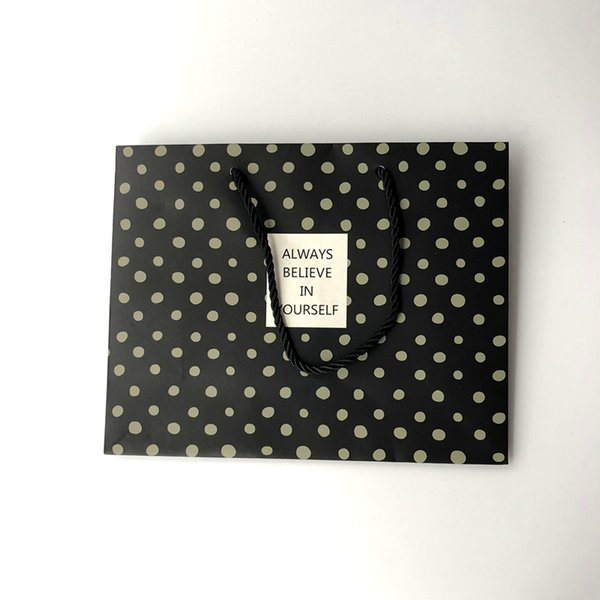Handmade Flat Luxury Style Black White Paper Bag With Printing For Jewelry Gift Packing With Handle