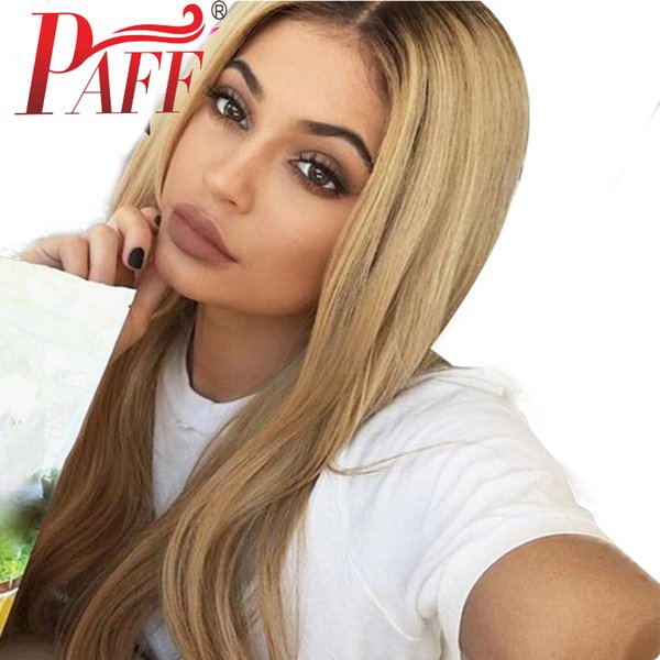 PAFF Straight Ombre Full Lace Wig Peruvian Remy Hair 150 Density Two Tone Color Middle Part Human Hair Wig for Women