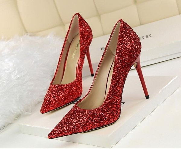 Hot Sale-Designer dress shoes ladies sexy Slim nightclub high heels shallow mouth sharp shiny sequins high heels