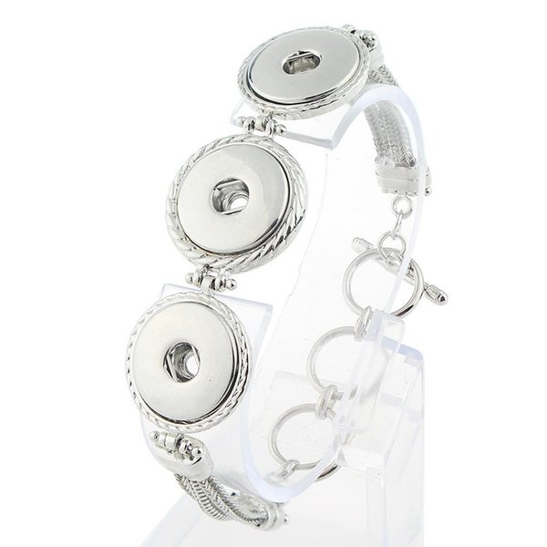 JaynaLee Interchangeable 3 buttons Snaps Bracelet Jewelry Fit Ginger Snap buttons For Man Women Gifts GJB7024